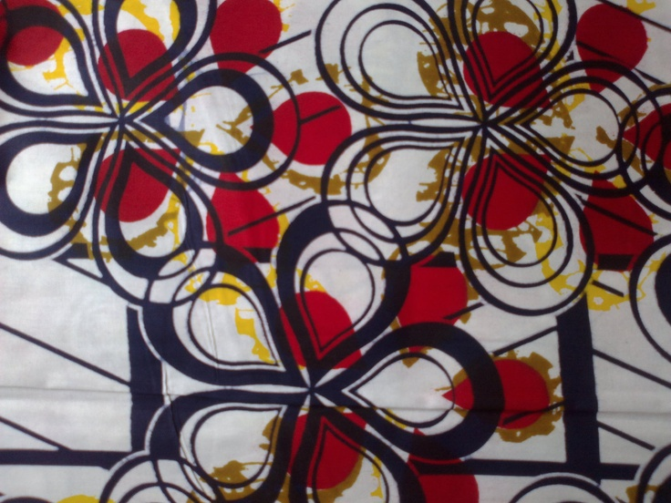 African Fabric Super Vasco High Quality Wax Print White and Red Fabric Sold By Yard (vitenge). £5.99, via Etsy.