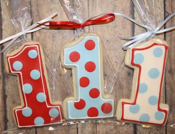 LARGE 1st BIRTHDAY COOKIES - Sugar Cookies with Royal Icing - Coordinating Favor Tags Available - First Birthday Cookies - Number One - 1