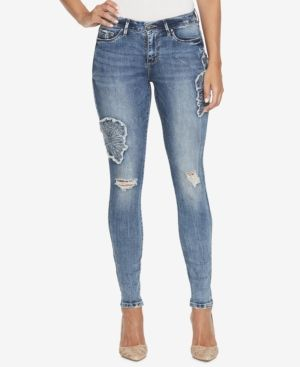 Jessica Simpson Kiss Me Patched Skinny Jeans - Blue 24