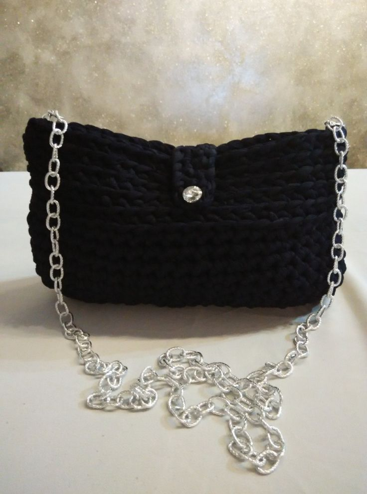 t shirt yarn purse - bag in dark blue with crystal button and long chain by yrozaf on Etsy