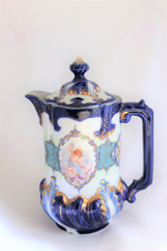 Rare NPSK Antique Victorian Cobalt Blue and Gold Chocolate /Coffee /Tea Pot