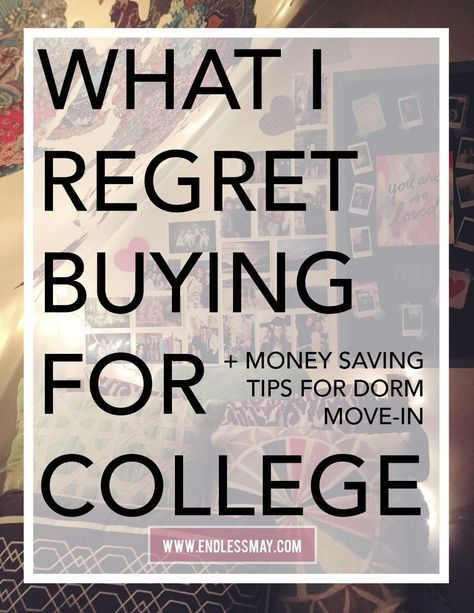 What I Regret Buying for College: There are so many dorm items you DON'T need, find out what they are. Follow these amazing money saving tips and save money when dorm shopping for move in day.
