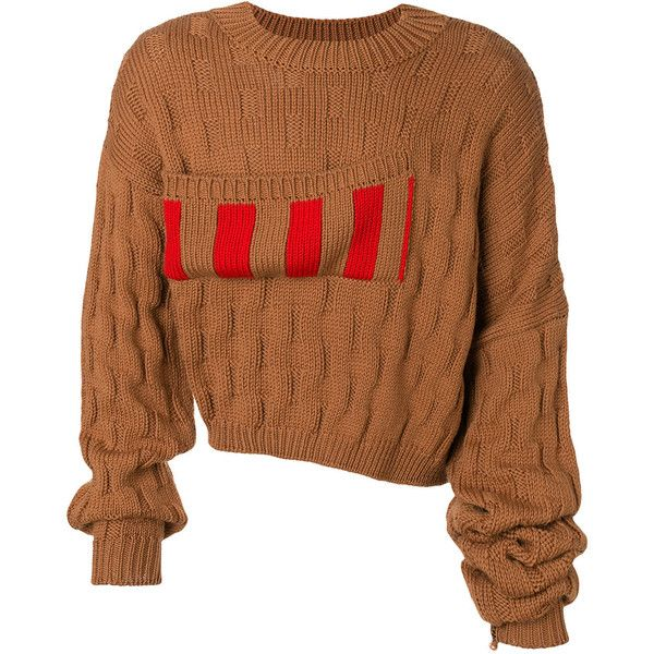 Raf Simons striped basket weave jumper with elongated sleeves ($1,020) ❤ liked on Polyvore featuring men's fashion, men's clothing, men's sweaters, brown, mens wool sweaters, mens woolen sweaters, mens striped sweater, mens short sleeve sweater and mens brown sweater