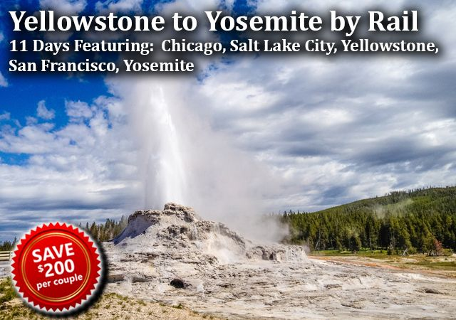 Yellowstone to Yosemite by Rail-Package Includes: - Amtrak from Chicago to Salt Lake City; Salt Lake City to San Francisco on the California Zephyr - Roundtrip shuttle transfer from Salt Lake City to West Yellowstone - 8 nights' hotel accommodations; 2 nights' on board Amtrak - Hop-on/hop-off sightseeing tour in Chicago - Lower loop bus tour of Yellowstone National Park - Narrated tour of the sights and history of Salt Lake City - Yosemite National Park Day tour out of San Francisco