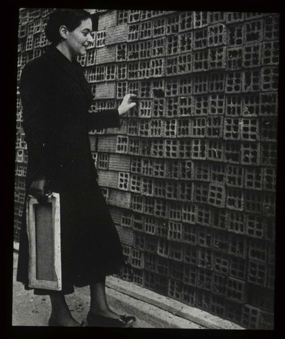 Portuguese painter Maria Helena Vieira da Silva photographed at the Boulevard Saint-Jacques