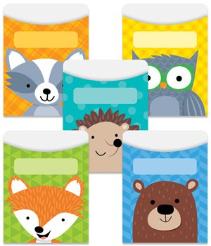 Furry animals and colorful patterns combine to give these Woodland Friends library pockets a friendly, playful look. Animals featured: fox, raccoon, bear, hedgehog and owl. The playful designs are perfect for a variety of classroom themes and displays including camping, nature, outdoors, science, animals, and more.
