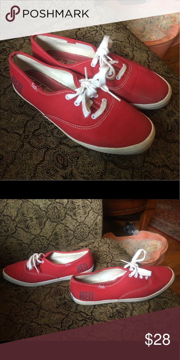 Taylor Swift RED Tour KEDS Tennis Shoes Limited edition Taylor Swift RED KEDS tennis shoes. Worn only a few times, never really liked how they looked on me. Very clean, no smell. Keds Shoes Sneakers
