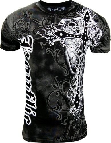 affliction clothing store for men kids - konflict nwt men's giant cross graphic designer mma muscle t-shirt!
