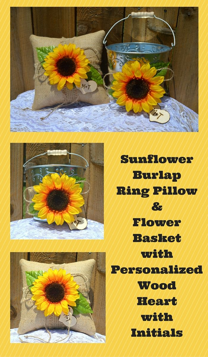 Here's a Sunflower Wedding Set with Burlap Ring Bearer Pillow and Flower Girl Pail.  With the personalized wood heart, this set is a great idea for any sunflower themed wedding. www.burlapdecor.com