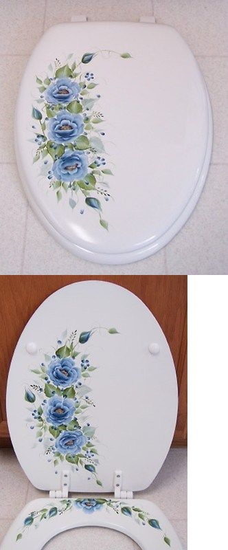 Toilet Seats 37637: Hand Painted Roses Toilet Seat Elongated White Blue Roses New -> BUY IT NOW ONLY: $79.95 on eBay!
