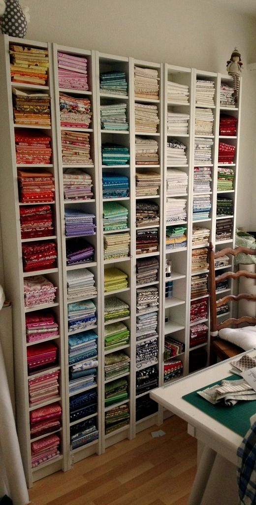 Ordnung im Nähzimmer – Little Miss Organized fabric stored in ikea gnedby