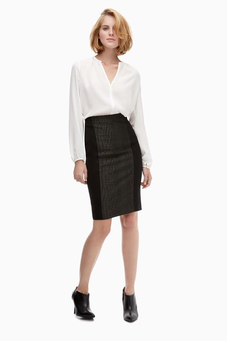 Croc-Embossed Jersey Pencil Skirt - Belle du Jour | Adolfo Dominguez shop online