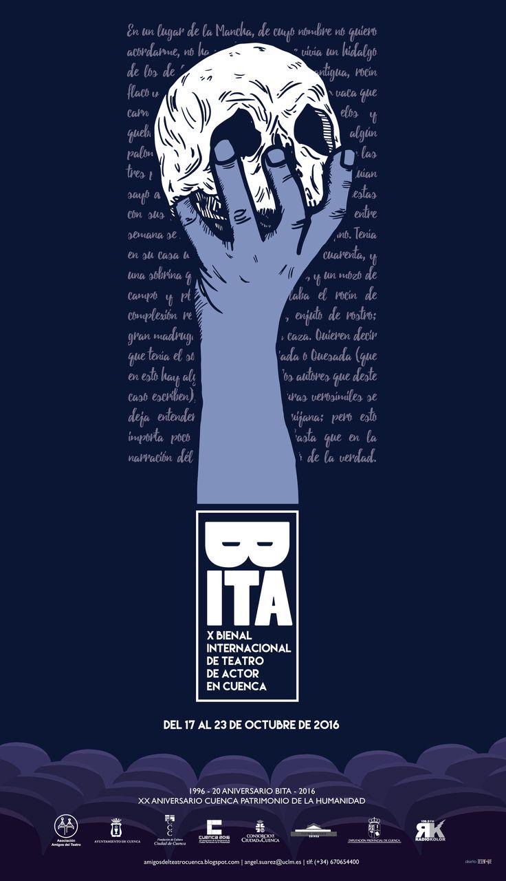 """Cartel de la X edición de la """"Bienal Internacional de Teatro de Actor"""" que se celebra en la ciudad de Cuenca (Spain) los días 17 al 23 de Octubre de 2016."""