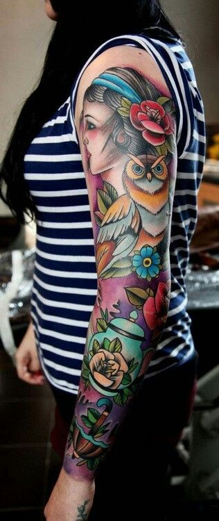 I'm in LOVE with this sleeve! This perfectly defines my style and what I want to achieve with my sleeve. Traditional feel, yet feminine, and a more solid background, with a good flow.