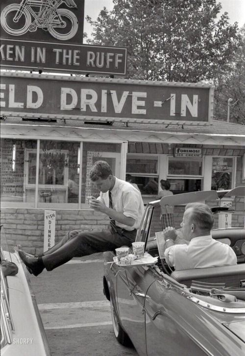 the-rolling-gi: Chilling outside a Drive-In diner, 1950s.