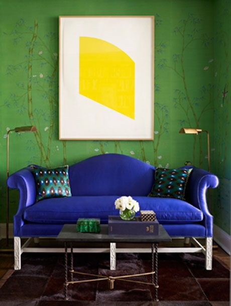 .: Decor, Interior Design, Blue Couch, Green Wall, Colors, Interiors, Living Room, Miles Redd