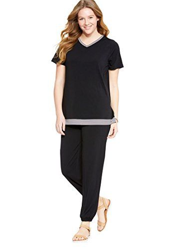 "A sporty-chic pantset with a striped trim detail you'll love. Top in a relaxed fit 28"" length ends below hip with V-neck with color striped trim set-in armholes back yoke side slits trim at the hemline Pants 29"" inseam full-length pants elastic waist side seam pockets elastic cuff... more details available at https://perfect-gifts.bestselleroutlets.com/gifts-for-women/clothing-shoes-jewelry-gifts-for-women/product-review-for-woman-within-womens-plus-size-sporty"