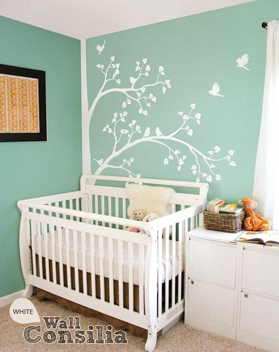 white tree wall sticker baby nursery wall decor corner tree decal