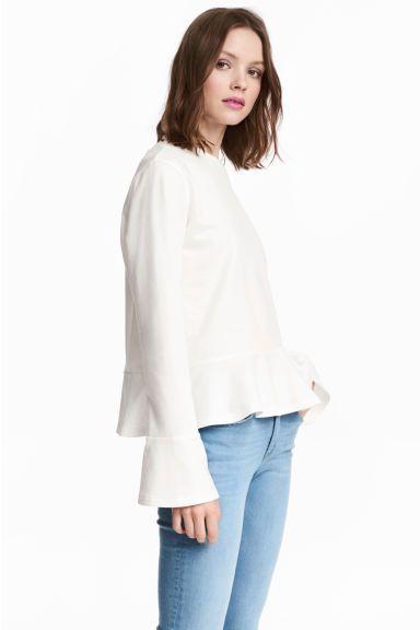 Sweater met volant - Wit - DAMES | H&M NL