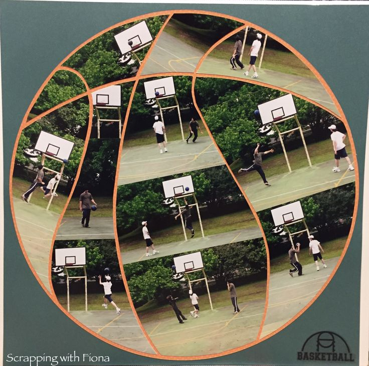 I had many shots of the kids playing basketball and just putting them all on the page  one after the other seemed a bit boring.  But it was such a fun day and not boring at all.  So I made a basketball out of the photos.  Hand drawn and cut out with scissors. #scrapbooking #scrapbookinglayout  #scrapbookingideas