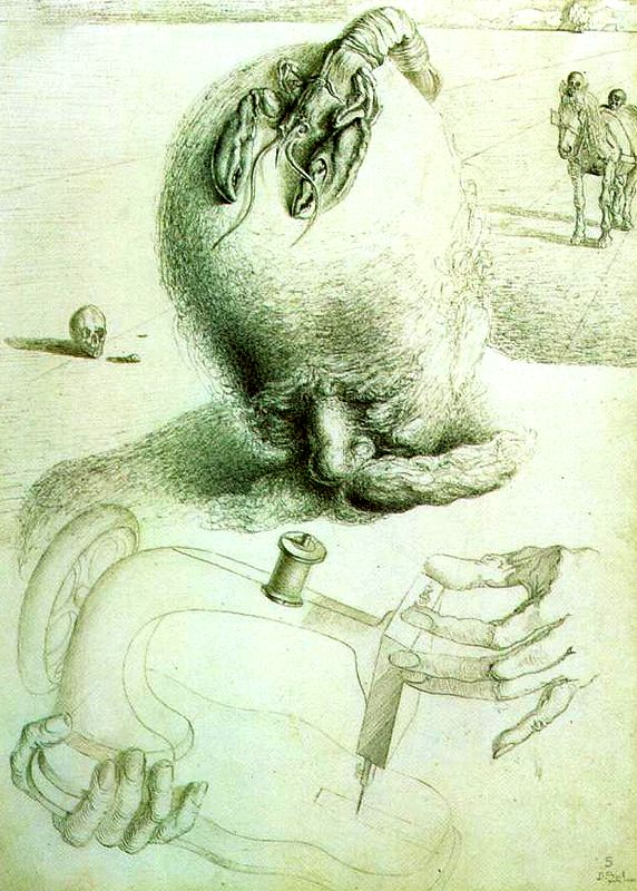 Salvador Dali, Bureaucrat and Sewing Machine - Illustration for 'Les Chants de Maldoror', 1933