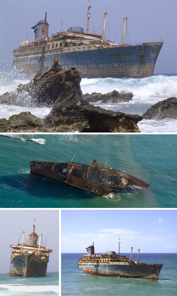 The wreckage of the SS America (SS American Star) in Fuerteventura, Canary Islands.