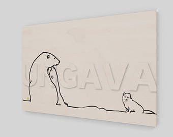 Collection Ungava: La famille d'ours polaires et le renard arctique de la Baie Ungava. Peinture numérique originale imprimée sur bois.