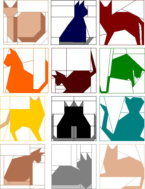 12.5 Inch Quilt Block Patterns | Block of the Month Club - Quilted Cats
