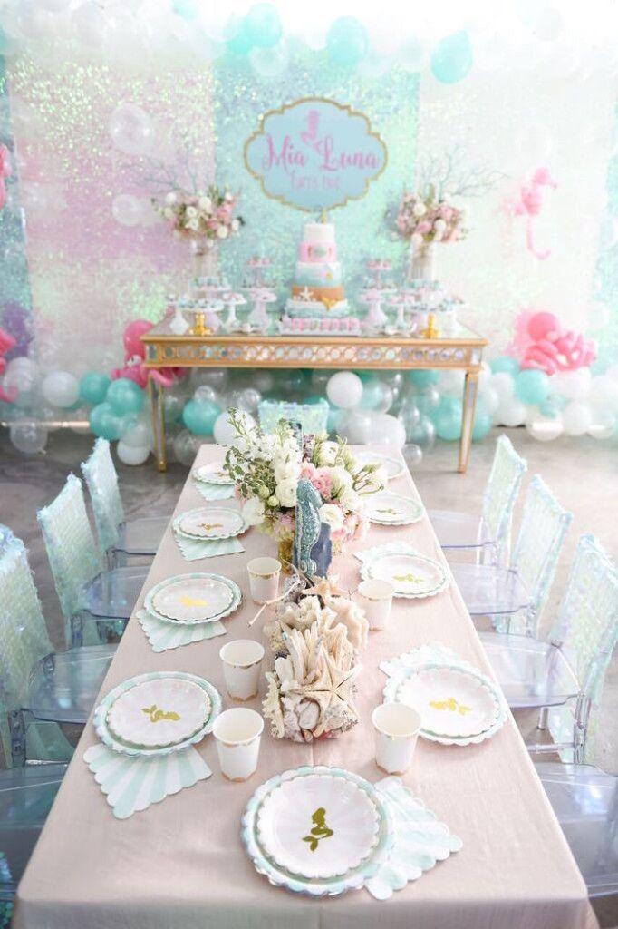 Dining Tablescape from a Mermaid Oasis Themed Birthday Party via Kara's Party Ideas   KarasPartyIdeas.com (32)