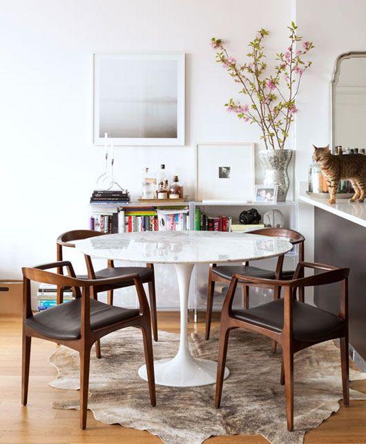 danish mid-century modern dining room.