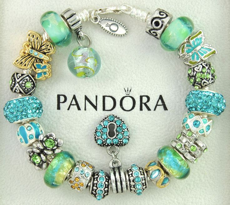 Authentic pandora bracelet with charms green turquoise butterfly murano flower #Pandoralobsterclaspclaw #European