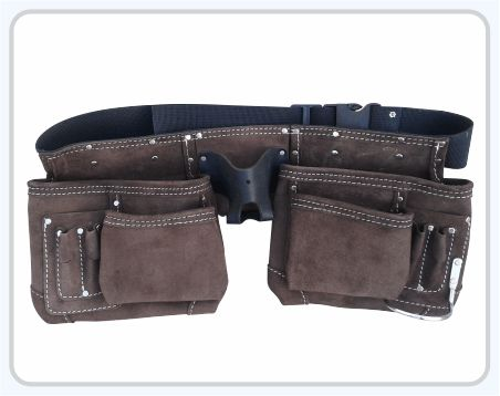 """Suede Leather Apron 4 Large Pockets for nails & 6 pockets for small tools 2 Chrome Plated Hammer Holder Heavy Duty Leather Belt fits waist size 30""""- 46"""". Leather Tape pocket holds upto 30' tape measure"""