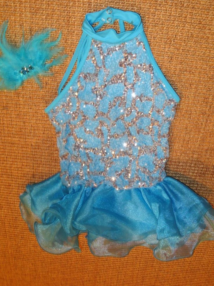 WEISSMAN GIRL'S  DANCE COSTUME  MC  MEDIUM AQUA BLUE SEQUIN  STYLE  8634 EUC #Weissman