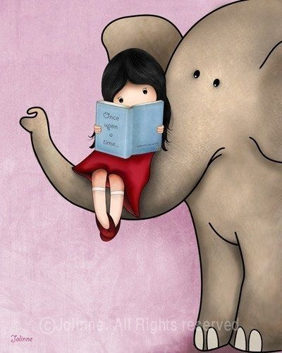 Girl reading a book on an elephant by jolinne