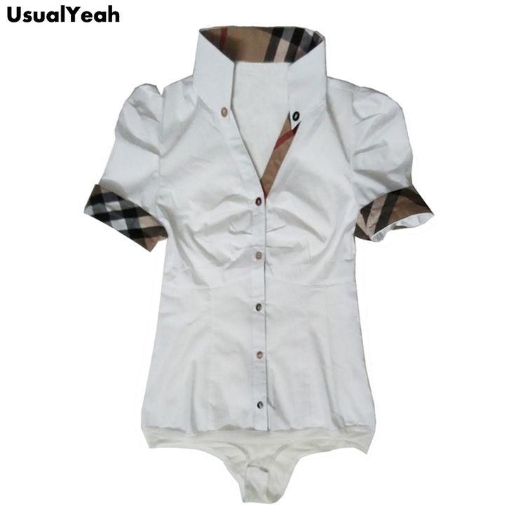 Women New 2017 Summer Style Body Shirt Fashion Button OL Short Sleeve Body Blouse Tops Shirt Plaid Patchwork white blue S - XL