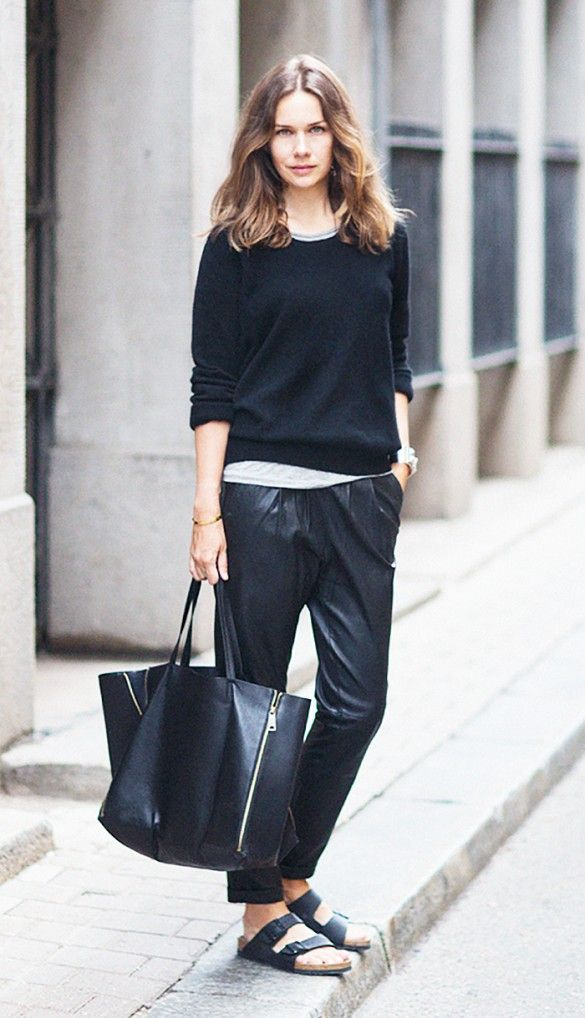 Black on black separates with Birkenstock sandals.: