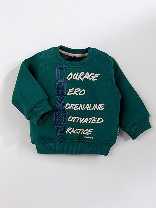 Gess Chapm Baskılı Erkek Sweatshirt-Haki
