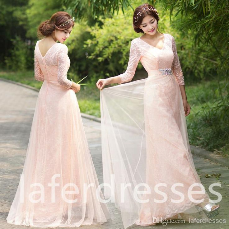 2015 new v neck long sleeve blush pink a line bridesmaid for Cheap modest wedding dresses with sleeves