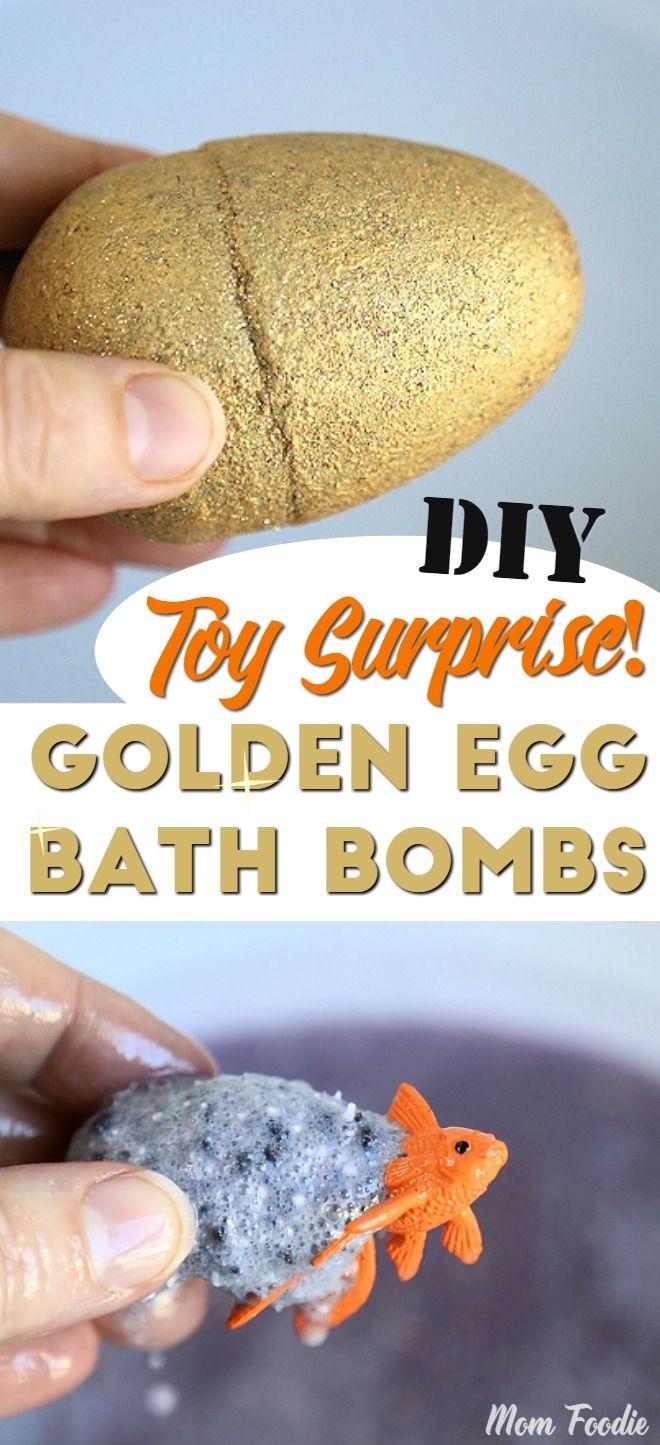 DIY Toy Surprise Golden Egg Bath Bombs