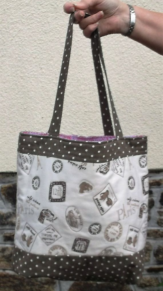 Women's Shoulder Bag, Handmade Ladies Tote Bag, Brown color Polka dot cotton linen fabric bags, Shopping bag, Fully Lined shopper Tote,