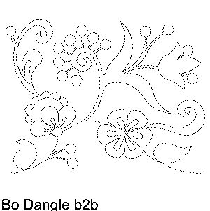 Bo Dangle Machine Quilting Pattern Rosemaling style over the top