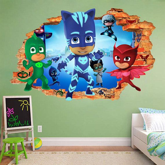 Pj Masks 3d Wall Sticker Smashed Star Wars Smash Bedroom