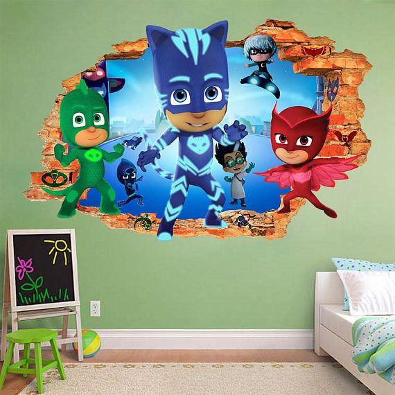 Little Girl Nursery Wallpaper Pj Masks 3d Wall Sticker Smashed Star Wars Smash Bedroom
