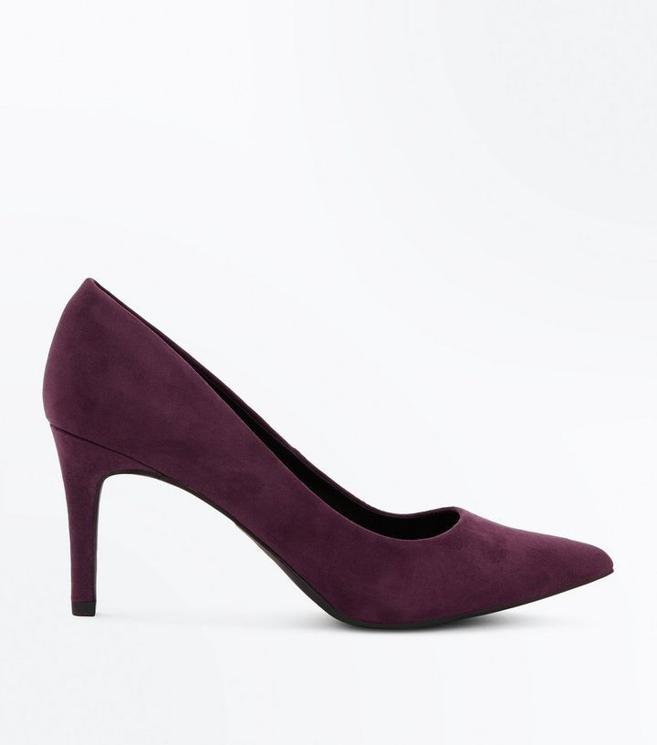 Z2018  Purple Suedette Mid Heel Pointed Court Shoes | New Look