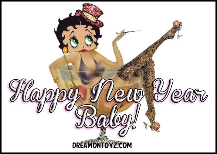 Click on image to see largest available. Best Wishes for a Happy New Year! Betty Boop wearing a top hat, sitting back in a cocktail Sou...