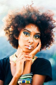 #African face paint #afro hair #lovely
