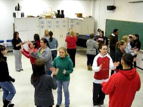 "Folk Dance to ""Jingle Bells""- I did this with different body percussion (pat, pat, pat, cl, cl, cl, share, share share); I like how they walk hand in hand around the circle and switch partners on the last phrase!"