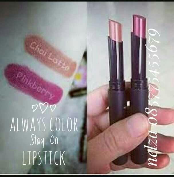 Always Color Stay On Lipstick  Pewarna bibir yang tahan lama dengan tampilan berkilau yang sangat mudah digunakan. Mengandung Vita.in E yang membantu melembabkan bibir dan  Carnauba Wax yang berfungsi melindungi serta menghidrasi bibirmu sehingga menjadi lebih lembut, lembab dan sehat alami.  Always Color Stay On Lipstick || 1,8gr  Terdiri dari 2 (dua) warna : Chai Latte Pinkberry  So, bagi Jafralovers yang kepo pengen coba produk dan bisnis JAFRA, silahkan merapat kemari
