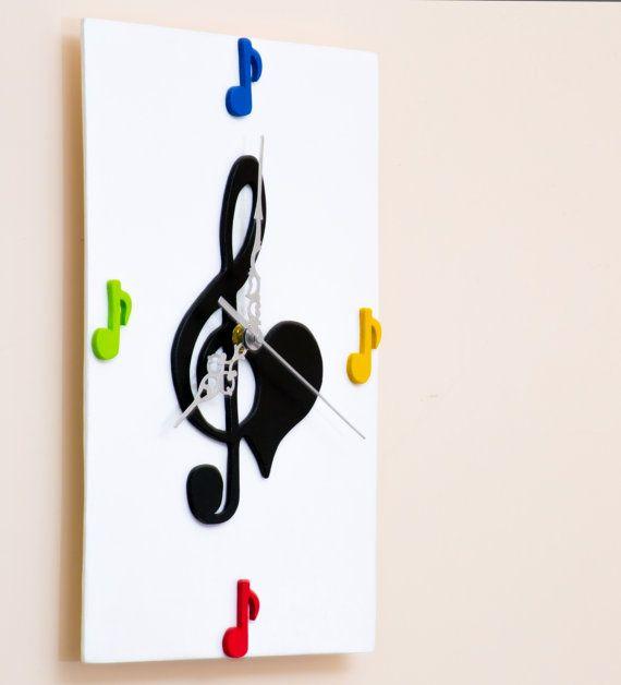"""OROLOGIO """"MUSICA"""" LEGNO bianco"""