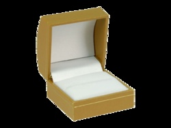Horizon Galleria Series - Single Ring Box (Gold). Gold coverings with gold trim, white velour pads and white satin top liners make this series sparkle and will make your jewellery sparkle too!